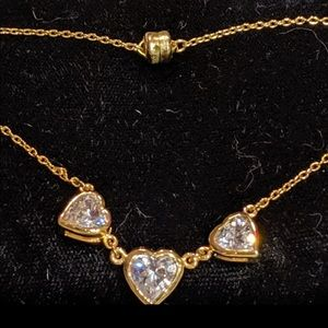 """MOM Gold Tone Reversible Heart necklace CZ 17"""""""